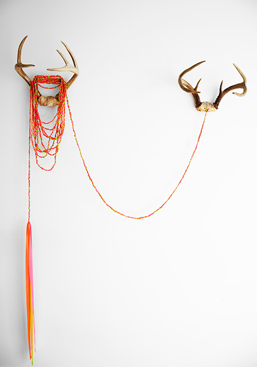 Gemini, 2013. Installation view from WYOMING at The Halllway Gallery, Jamaica Plain, MA. Antlers, braided construction tape